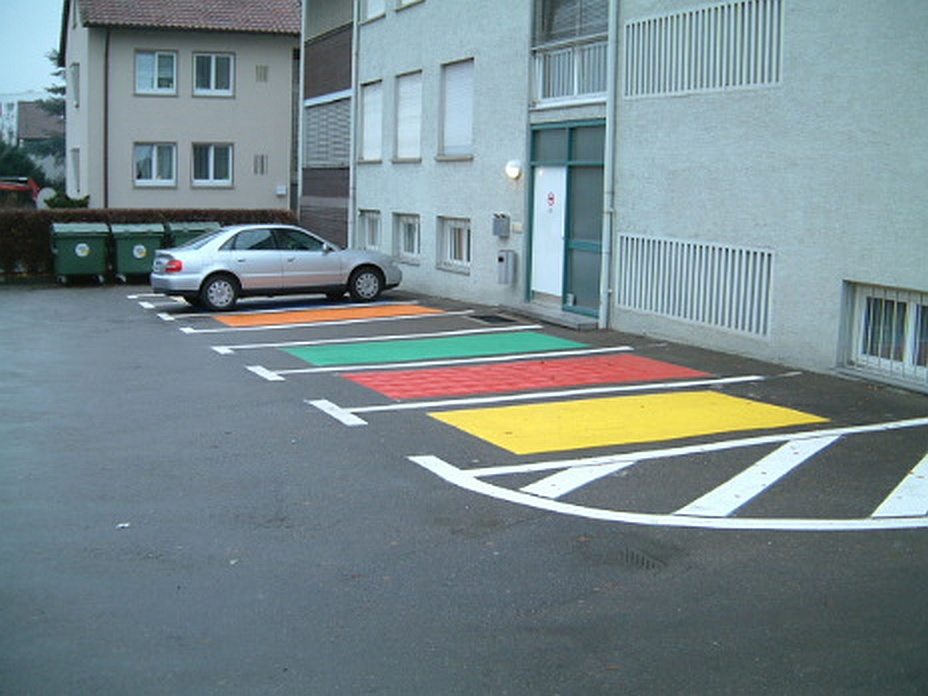 Musterflächen für Parkplatzmarkierung